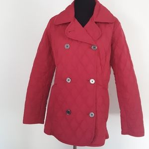 LANDS END Jacket Quilted Red Size XS